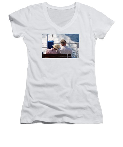 Together In Greece Women's V-Neck T-Shirt