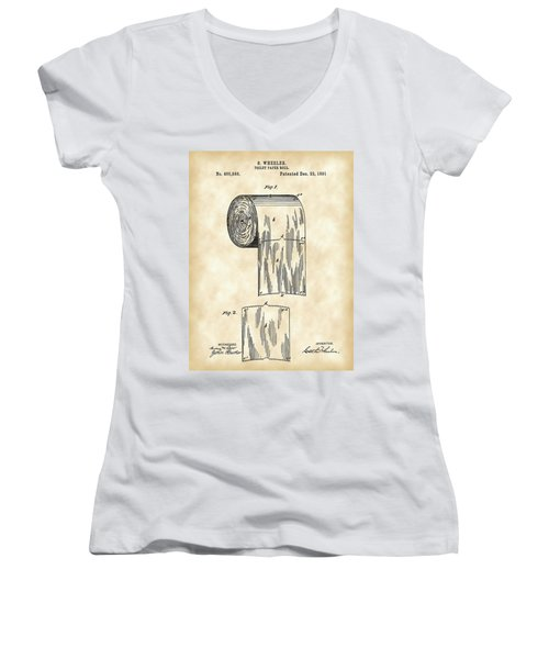 Toilet Paper Roll Patent 1891 - Vintage Women's V-Neck T-Shirt (Junior Cut) by Stephen Younts