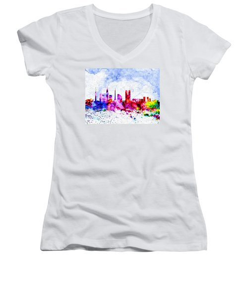 Tokyo Watercolor Women's V-Neck T-Shirt (Junior Cut) by Daniel Janda
