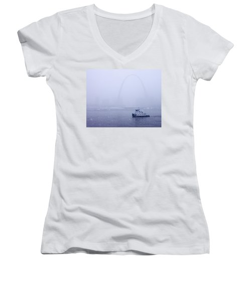 Towboat Working In The Snow St Louis Women's V-Neck (Athletic Fit)