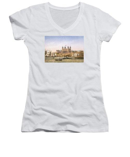Tower Of London, 1862 Women's V-Neck T-Shirt (Junior Cut) by Achille-Louis Martinet