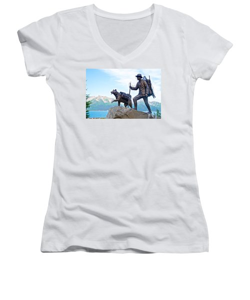 Trail Blazers Sculpture For 2012 Iditarod Beginning At Mile 0 In Seward-ak Women's V-Neck (Athletic Fit)