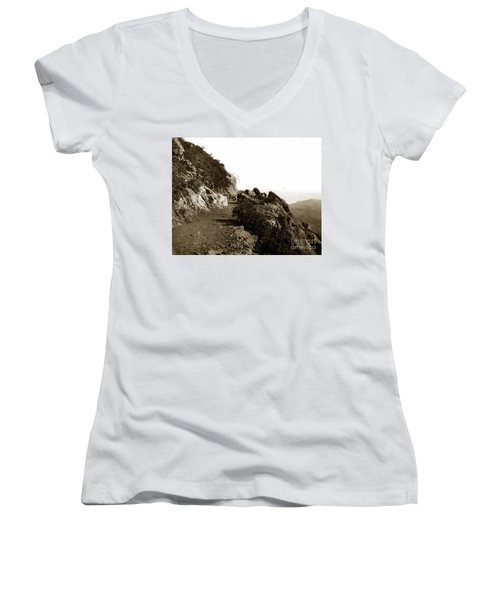 Women's V-Neck T-Shirt (Junior Cut) featuring the photograph Trail On Mt. Tamalpais Marin Co California Circa 1902  by California Views Mr Pat Hathaway Archives