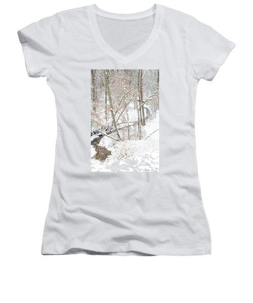Tranquil Winters Creek Women's V-Neck T-Shirt