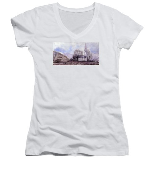 Women's V-Neck T-Shirt (Junior Cut) featuring the painting Tranquility by Jasna Dragun