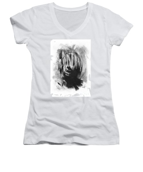 Women's V-Neck T-Shirt (Junior Cut) featuring the drawing Gaza Trauma by Paul Davenport