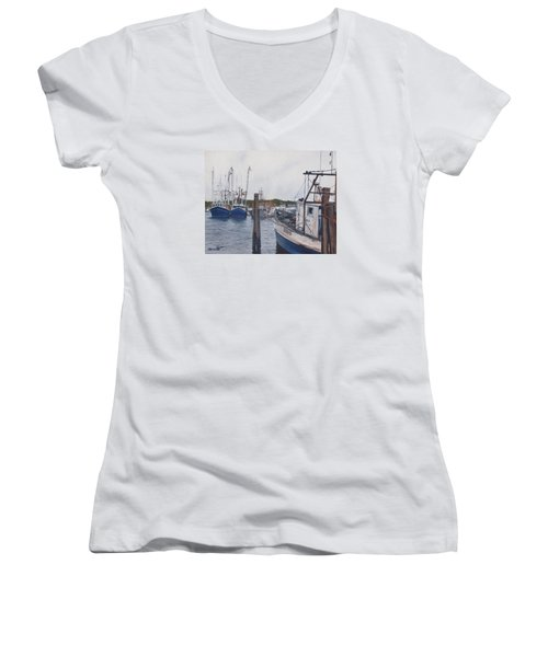 Trawlers At Gosman's Dock Montauk Women's V-Neck (Athletic Fit)