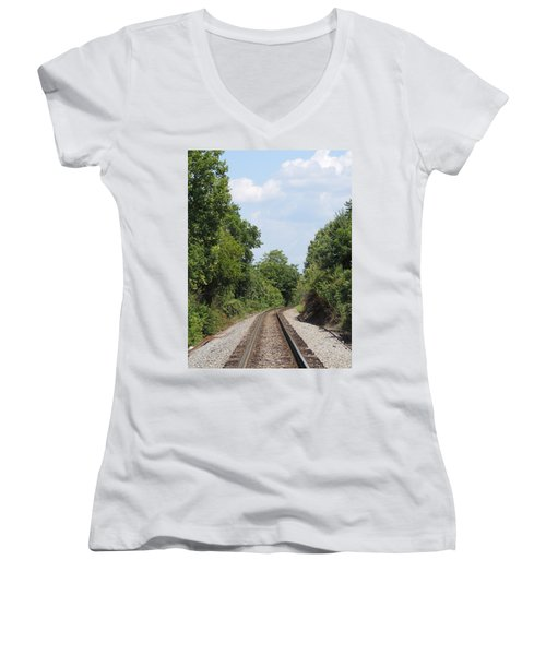Women's V-Neck T-Shirt (Junior Cut) featuring the photograph Traxs To Anywhere by Aaron Martens