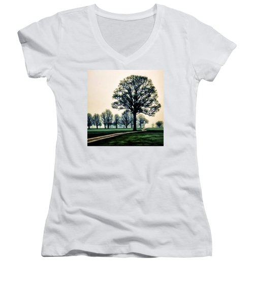 Tree At Dawn On Golf Course Women's V-Neck