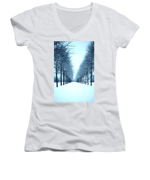 Tree Avenue In Snow Women's V-Neck (Athletic Fit)