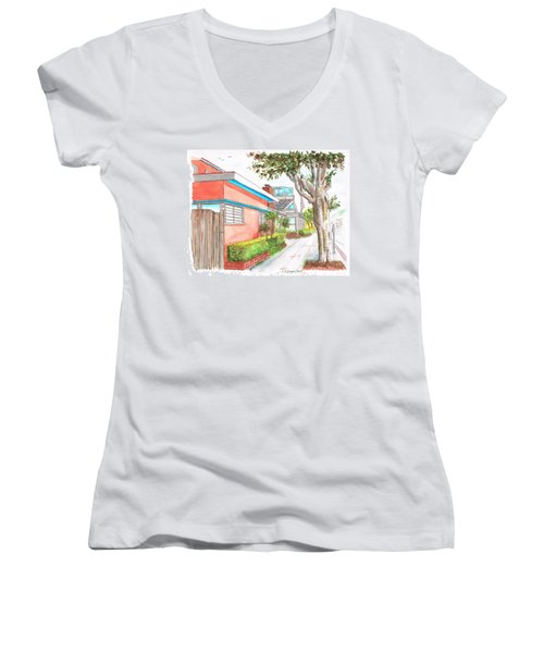 Tree In Laguna Riviera Hotel In Laguna Beach - California Women's V-Neck T-Shirt (Junior Cut) by Carlos G Groppa