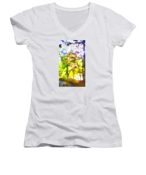 Women's V-Neck T-Shirt (Junior Cut) featuring the digital art Tree Leaves by Frank Bright