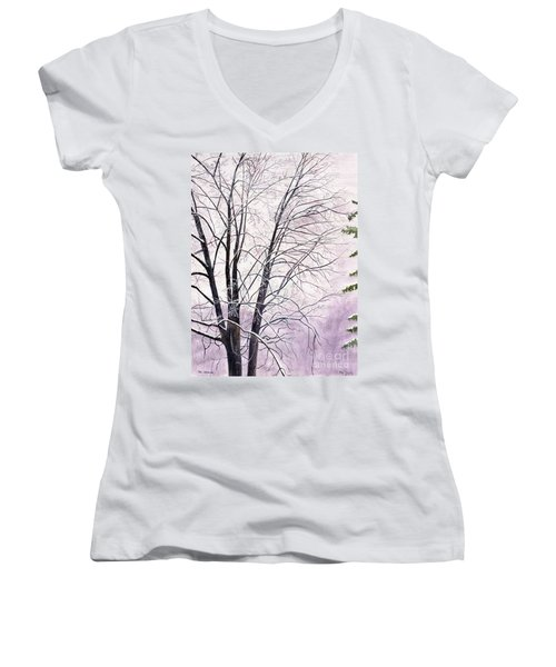 Women's V-Neck T-Shirt (Junior Cut) featuring the painting Tree Memories by Melly Terpening