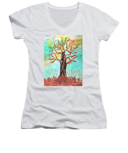 Tree Of Joy Women's V-Neck (Athletic Fit)