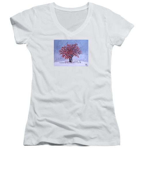 Women's V-Neck T-Shirt (Junior Cut) featuring the painting Tree Of Life by Nina Mitkova