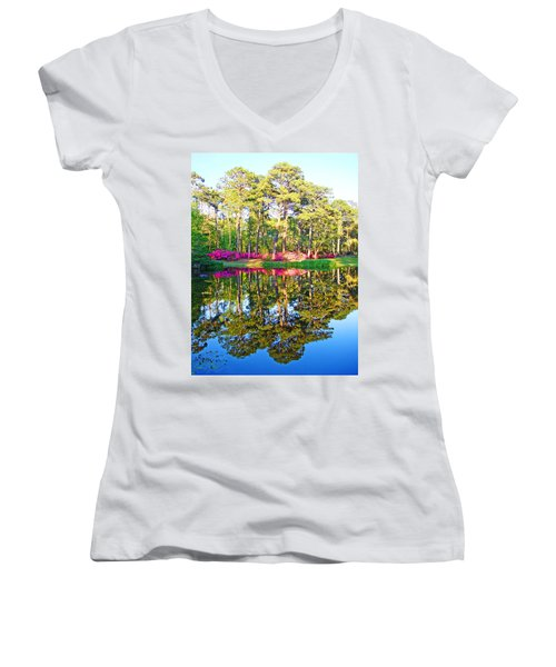 Tree Reflections And Pink Flowers By The Blue Water By Jan Marvin Studios Women's V-Neck T-Shirt