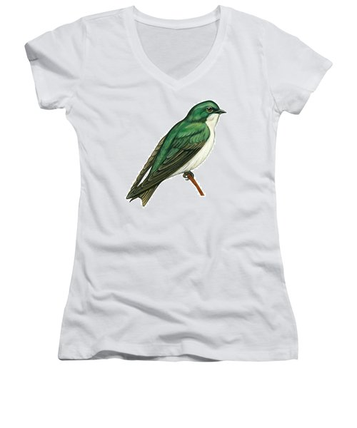 Tree Swallow  Women's V-Neck T-Shirt (Junior Cut) by Anonymous