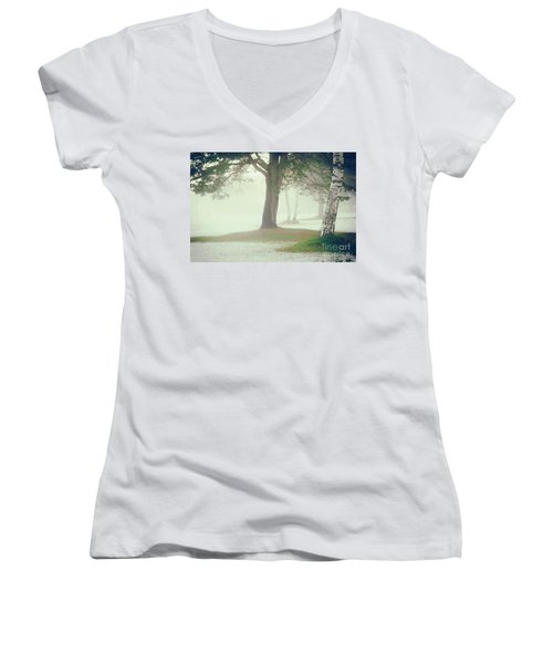 Women's V-Neck T-Shirt (Junior Cut) featuring the photograph Trees In Fog by Silvia Ganora
