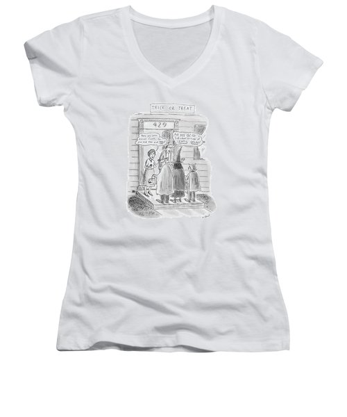 Trick Or Treat 'here Are Some Broccoli Florets - Women's V-Neck T-Shirt (Junior Cut) by Roz Chast