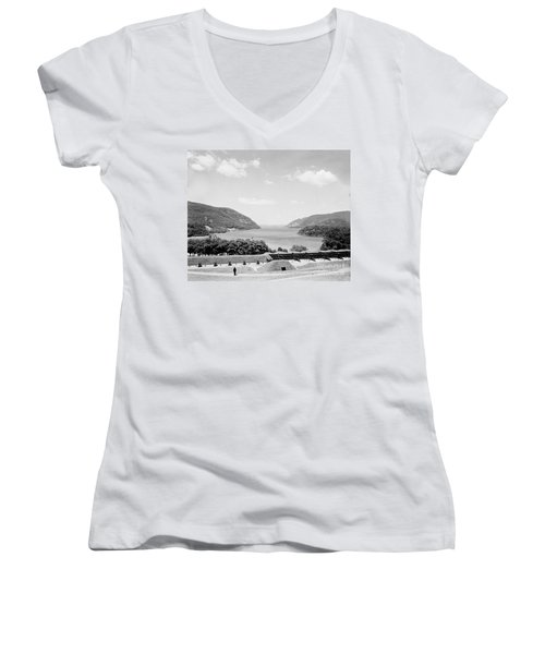 Trophy Point North Fro West Point In Black And White Women's V-Neck T-Shirt