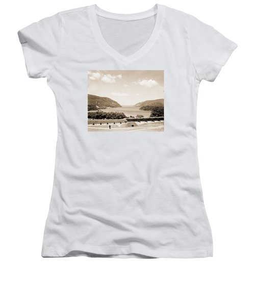 Trophy Point North Fro West Point In Sepia Tone Women's V-Neck T-Shirt