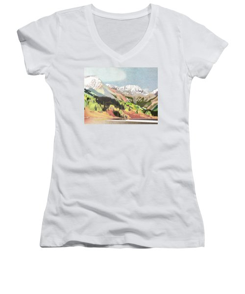 Trout Lake Colorado Women's V-Neck T-Shirt (Junior Cut) by Dan Miller