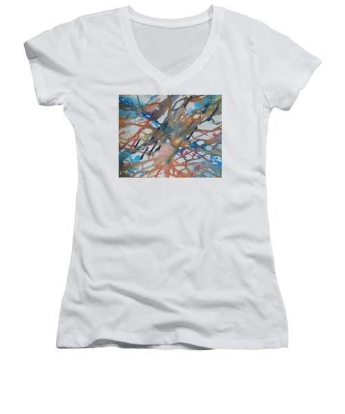 Women's V-Neck T-Shirt featuring the painting Tube by Thomasina Durkay