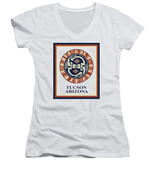 Women's V-Neck T-Shirt (Junior Cut) featuring the digital art Tucson Arizona  by Vagabond Folk Art - Virginia Vivier
