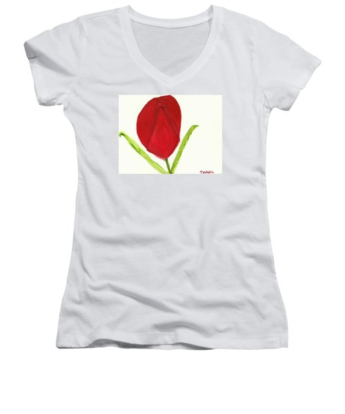 Tulip Of The Heart Women's V-Neck (Athletic Fit)