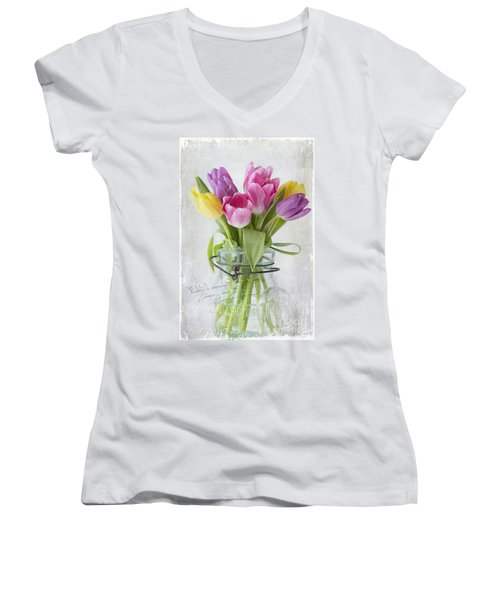 Tulips In A Jar Women's V-Neck T-Shirt