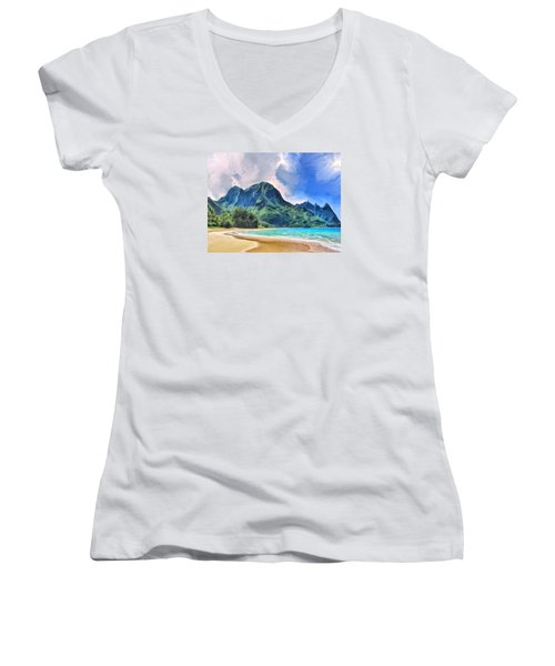 Tunnels Beach Kauai Women's V-Neck