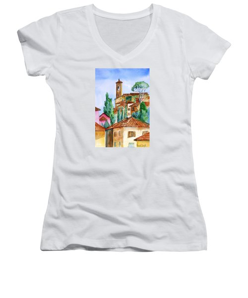Tuscan Rooftops  -montecatini Alto Women's V-Neck T-Shirt (Junior Cut) by Trudi Doyle