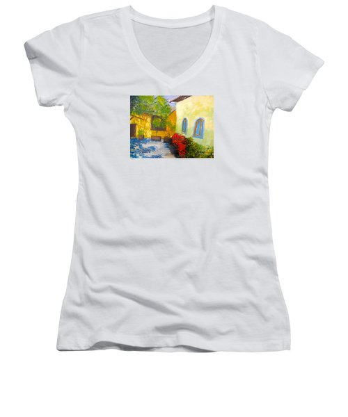 Tuscany Courtyard 2 Women's V-Neck T-Shirt (Junior Cut) by Pamela  Meredith