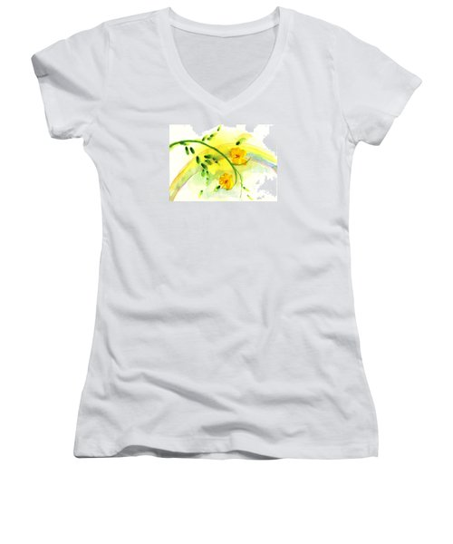 Women's V-Neck T-Shirt (Junior Cut) featuring the painting 'twas By Grace by Holly Carmichael