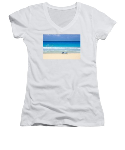 Two Chairs On Cancun Beach Women's V-Neck