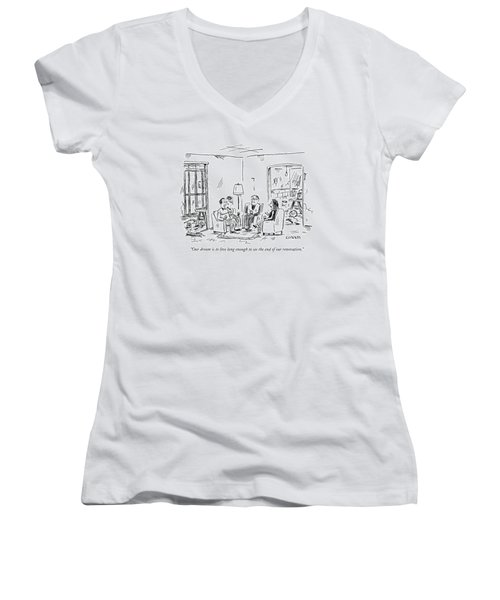Two Couples Sitting In The Middle Of A House Women's V-Neck