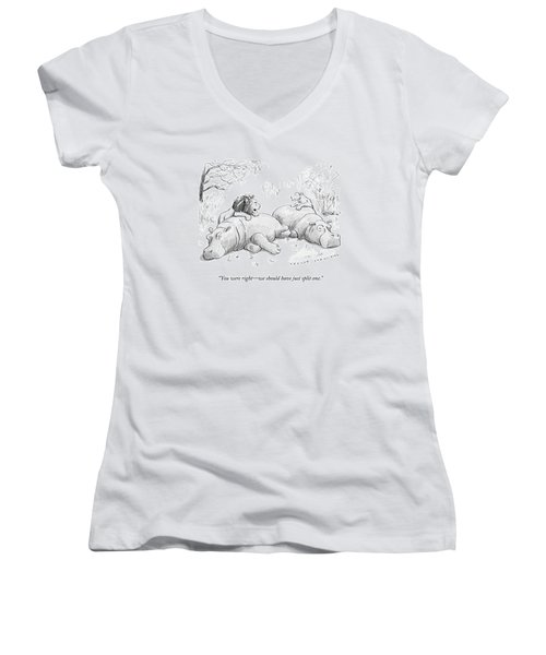 Two Lions Prepare To Dine On Two Hippopotami Women's V-Neck