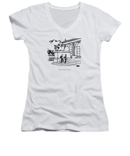 Two Men Walk Into A Library.  There Is An Women's V-Neck