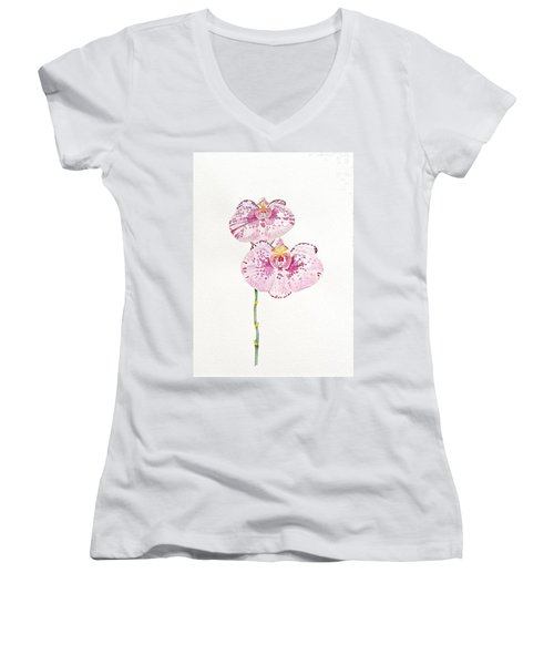 Two Orchids Women's V-Neck T-Shirt (Junior Cut)