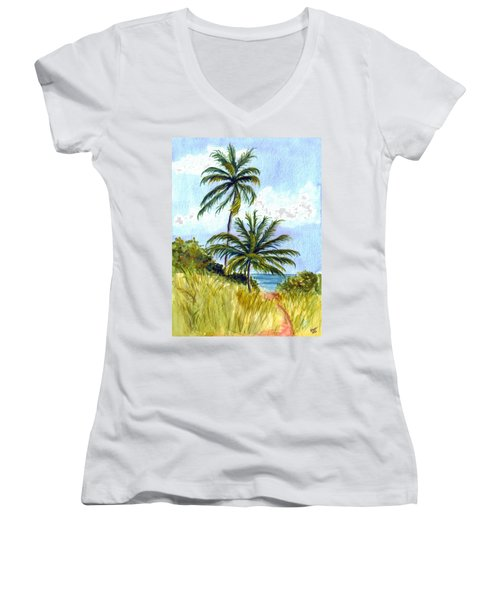 Two Palms Women's V-Neck T-Shirt (Junior Cut)