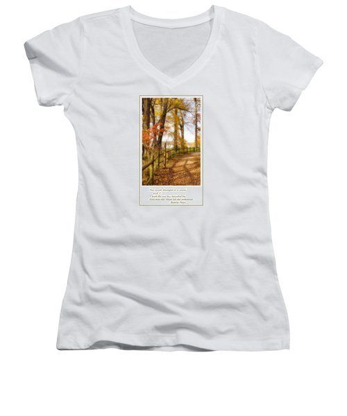 Two Roads Diverged Women's V-Neck T-Shirt (Junior Cut) by Jean Goodwin Brooks