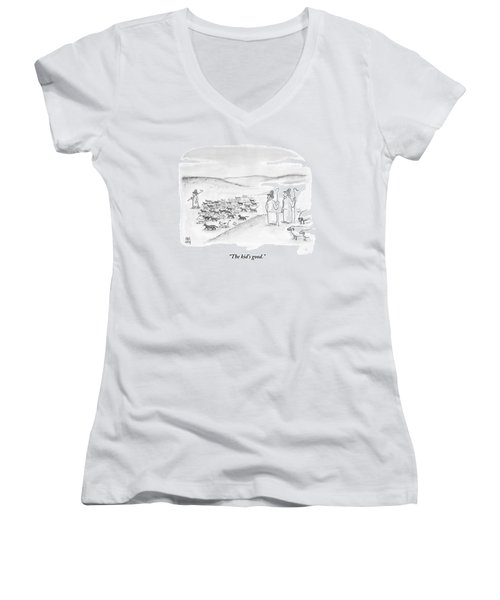 Two Shepherds With Conventional Sheep Look Women's V-Neck