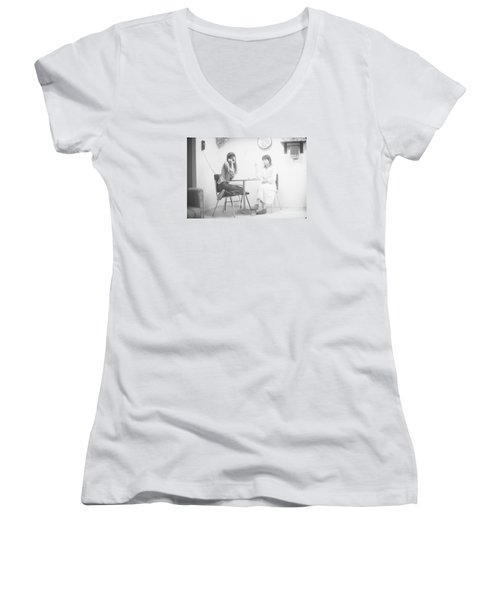Women's V-Neck T-Shirt (Junior Cut) featuring the photograph Two Sisters Project 12 by Steven Macanka