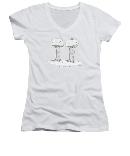 Two Trees With Faces Are Seen Next To Each Other Women's V-Neck