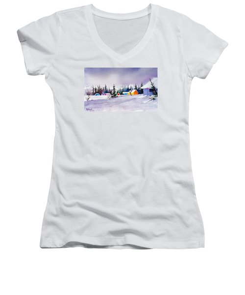 Women's V-Neck T-Shirt (Junior Cut) featuring the painting Tyonek Village Impression by Teresa Ascone