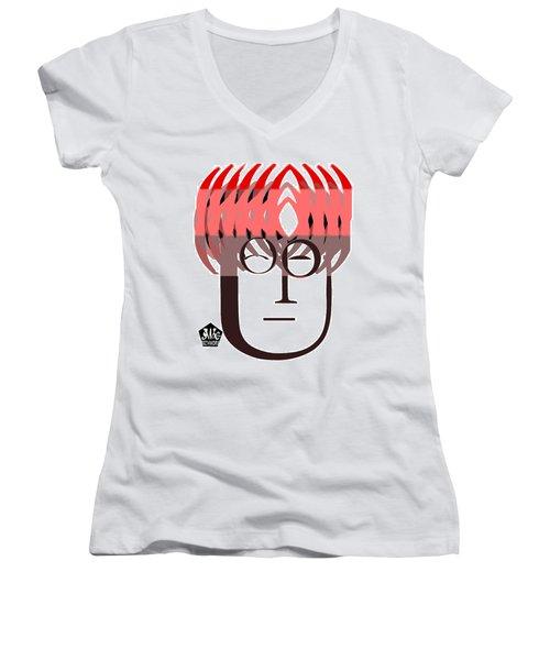 Typortraiture John Lennon Women's V-Neck (Athletic Fit)