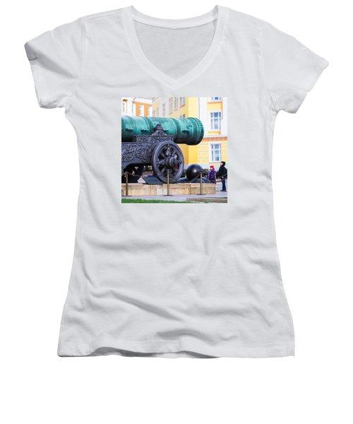 Tzar Cannon Of Moscow Kremlin - Square Women's V-Neck T-Shirt (Junior Cut) by Alexander Senin