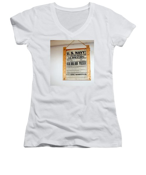 U. S. Navy Men Wanted Women's V-Neck T-Shirt