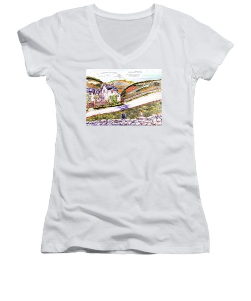Women's V-Neck T-Shirt (Junior Cut) featuring the painting An Afternoon In June by Loredana Messina