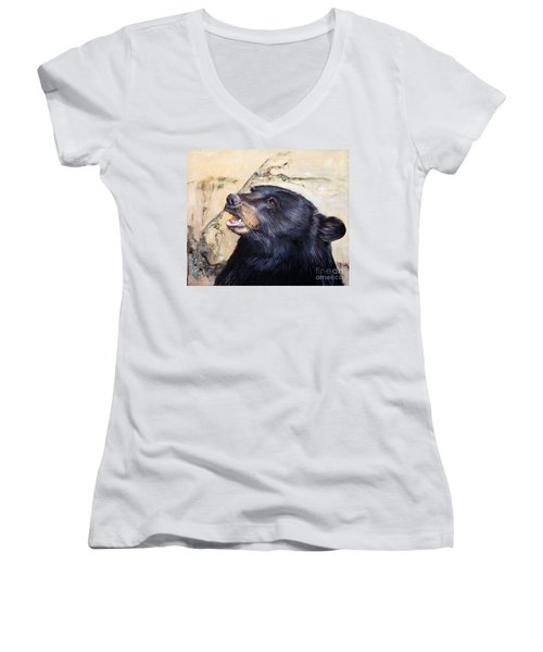 Under The All Sky Women's V-Neck T-Shirt (Junior Cut) by J W Baker